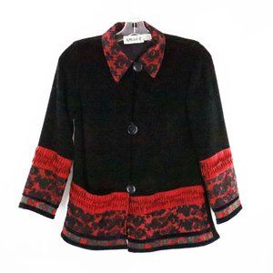 Anage Black Red Chenille Applique Button Down Jack